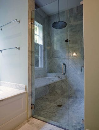 Image of wall to wall glass shower door hinge pull handle