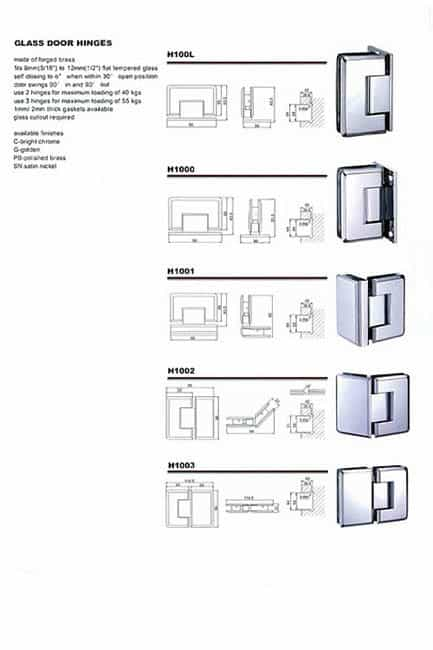 Image of glass shower door hinge for catalog