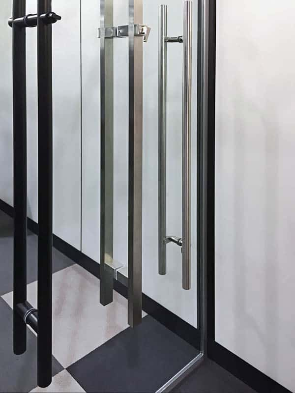 Image of locking ladder pulls finish options matte black BSS thumb turn lever actuators